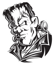 Frankenstein Head Black And Wh...