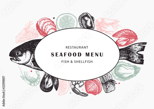 Hand drawn fish and shellfish sketches with herbs, spices and lemon design Fototapet