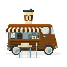 Coffee Truck With Cup Of Drink...