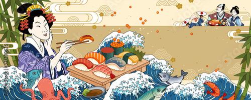 Fotografie, Tablou Ukiyo-e geisha eating sashimi