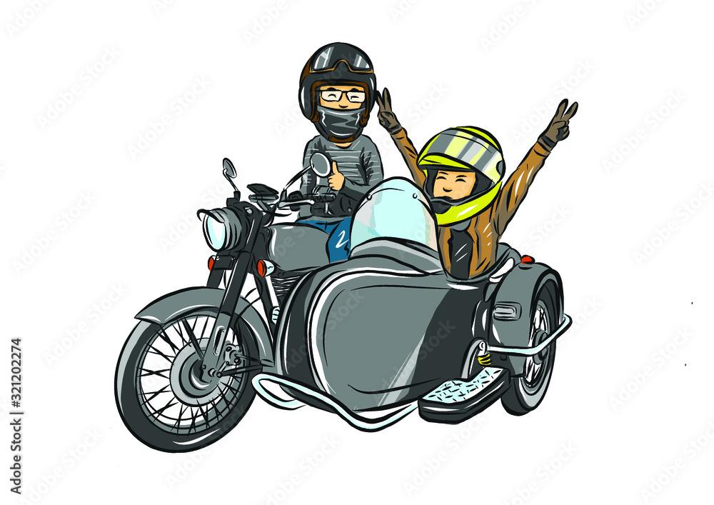 Fototapeta  the family touring motorcycle sidecar