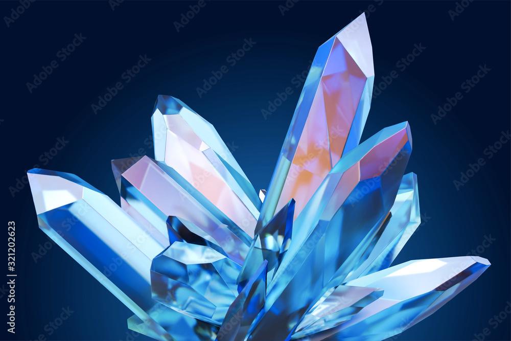 Fototapeta Beautiful blue clear crystal