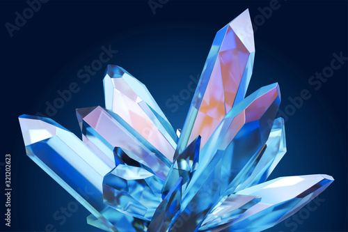 Obraz Beautiful blue clear crystal - fototapety do salonu