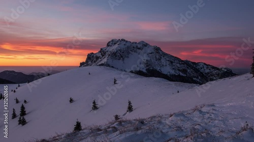 Winter frozen mountain panorama landscape in Slovakia, near Terchova - Time lapse