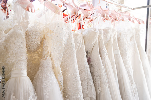 Cuadros en Lienzo Beautiful, White bridal dress texture on background