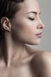 natural beauty concept young woman  profile  face closeup studio shot