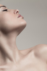 natural beauty concept young woman  profile  face and neck studio shot