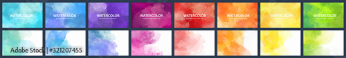 Fotografie, Obraz Bundle set of vector colorful watercolor backgrounds for business card or flyer