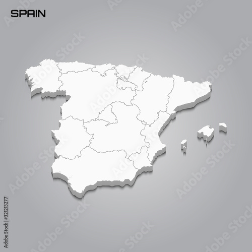 Spain 3d map with borders of regions