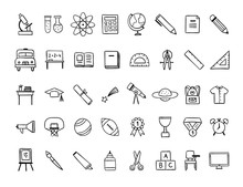 Learning Icons Set. Vector Han...
