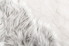 White Fur For Background Or Texture. Fuzzy White Fur Plaid. Shaggy Blanket Background. Fluffy Fake Textile Fur. Flat Lay, Top View, Copy Space