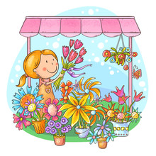 Florist Girl Selling Bouquets ...