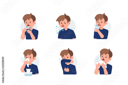 Fotografiet Kid Character Sneezing and Coughing Right and Wrong