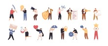 Set Of Tiny People With Big Items Isolated On White Background. Collection Of Person Different Activities And Occupation Vector Flat Illustration. Cartoon Characters Holding Various Tools