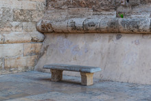 Very Old Stone Bench, With Som...