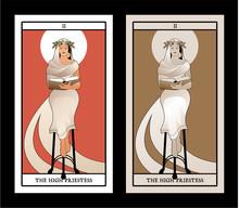 Major Arcana Tarot Cards. The High Priestess With A Laurel Wreath And Aura Around Her Head, Reading A Book Sitting On A Tripod, Like A Greek Pythia