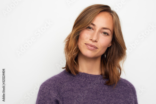 Obraz portrait of young woman isolated on white - fototapety do salonu