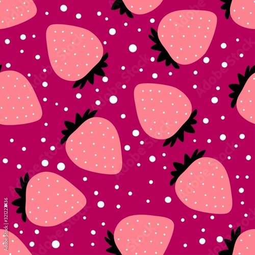 Strawberry pattern. Seamless dotted background with drawn berry. Red fruit. Flat cartoon style. Great for kitchen, tablewear, fabric, textile. Vector