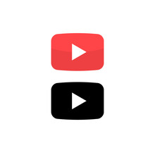 Play Vector Button Icon. Red Button Video Play Arrow Symbol