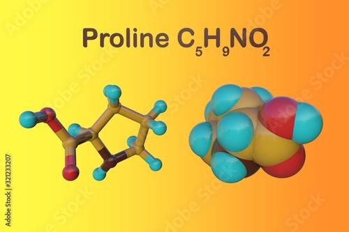 Structural chemical formula and molecular model of proline Fototapet