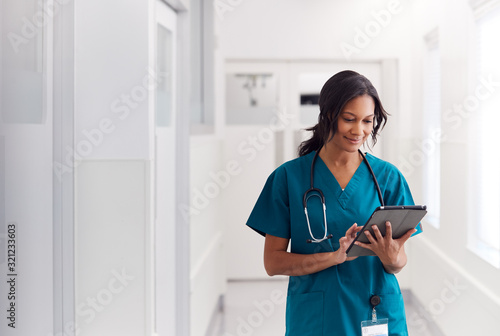 Cuadros en Lienzo Female Doctor Wearing Scrubs In Hospital Corridor Using Digital Tablet