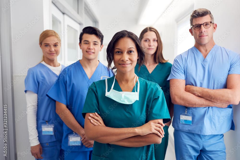 Fototapeta Portrait Of Multi-Cultural Medical Team Standing In Hospital Corridor
