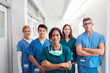 canvas print picture - Portrait Of Multi-Cultural Medical Team Standing In Hospital Corridor