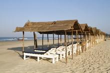 Shaded Beach Beds At Mandrem Beach Pernem Goa, India