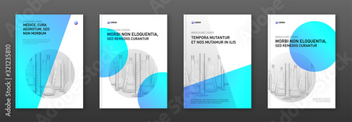 Fototapeta Pharmaceutical brochure cover design layout with flasks vector illustration. Good for medical annual report, laboratory catalog design, company profile obraz