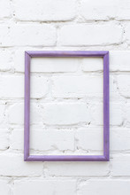 Lilac Wooden Photo Frame On Wh...