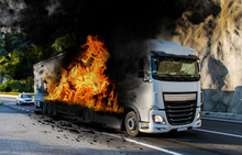 Truck In Flames. The Tank Of T...