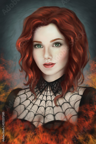 Fototapeta Portrait of a Gothic red-haired girl on fire