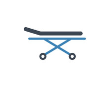 Stretcher Bed Icon. Vector Pat...