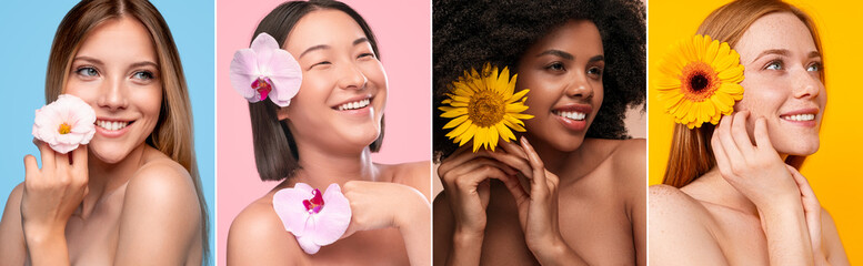 Delighted diverse women with beautiful flowers