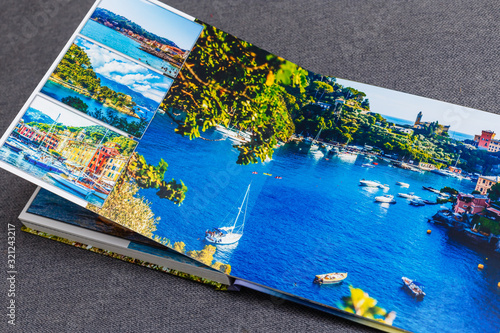 Collage of images of a persons life, photobook vacation travel in Italy Fototapet