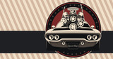 Muscle car in vector. Illustration in vintage colors, shows engine removal.