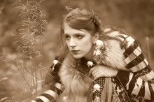 Red-haired Gypsy With A Tambou...
