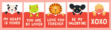 Collection Of Valentines Day Cards With Cute Funny Animals, Hearts, Quotes. Hand Drawn Vector Illustration. Scandinavian Style Flat Design. Concept For Children Holiday Print, Invite, Gift Tag, Banner