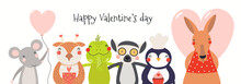 Hand Drawn Card, Banner With Cute Animals, Hearts, Text Happy Valentines Day. Vector Illustration. Scandinavian Style Flat Design. Concept For Children Holiday Print, Invite, Gift Tag.