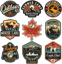 Canada Outdoor Adventure Labels And Patches Vector Collection