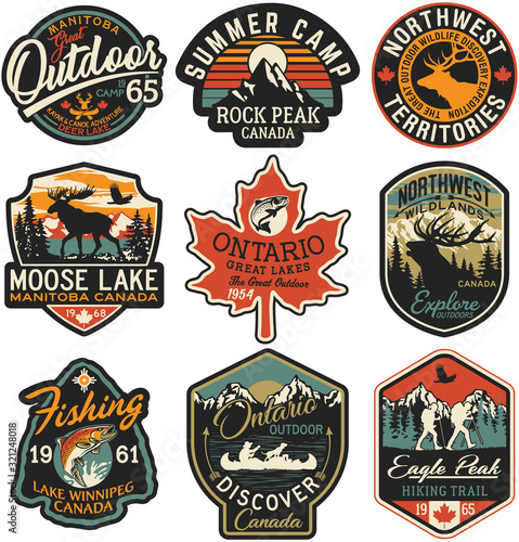 Obraz Canada outdoor adventure labels and patches vector collection - fototapety do salonu