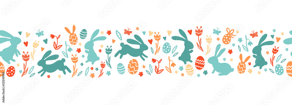 Fototapeta Cute hand drawn easter bunnies horizontal seamless pattern, easter doodle background, great for textiles, banners, wallpapers, wrapping - vector design
