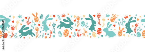 Photo Cute hand drawn easter bunnies horizontal seamless pattern, easter doodle backgr