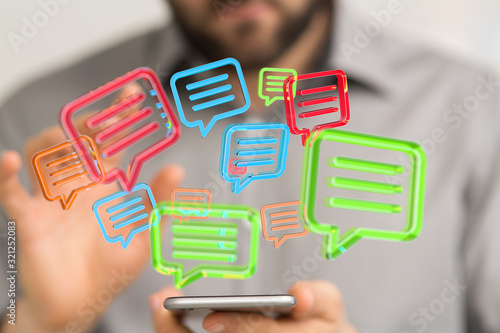 Fototapeta speech bubbles. People Chatting. Vector illustration of a communication concept, relating to feedback obraz