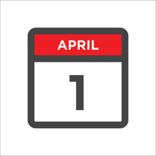 April 1 Calendar Icon With Day Of Month