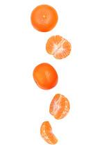 Falling Mandarins Isolated On ...