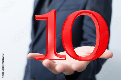 Fototapeta 10 years anniversary celebration logotype with elegant celebration. obraz