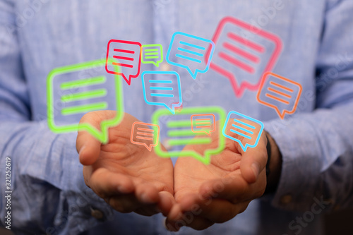 Fototapeta speech bubbles. People Chatting. 3d illustration of a communication concept, relating to feedback 3d obraz