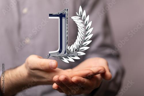 Fototapeta First or one  Years award Digital number award Anniversary 3d. obraz