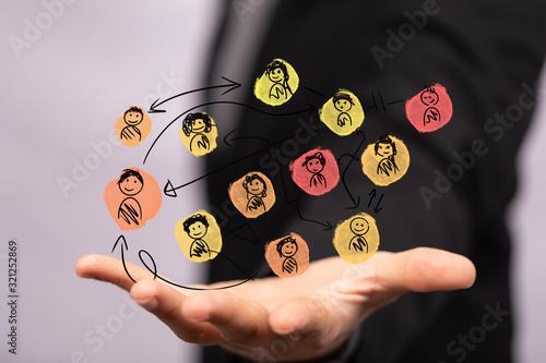 Fototapeta group of people talking in social network. obraz